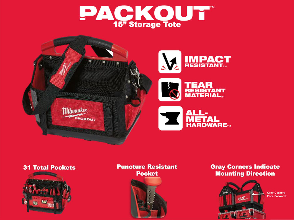 Milwaukee 15 in Tool Storage Tote Packout 31 Pockets Strap Handle Metal Clip